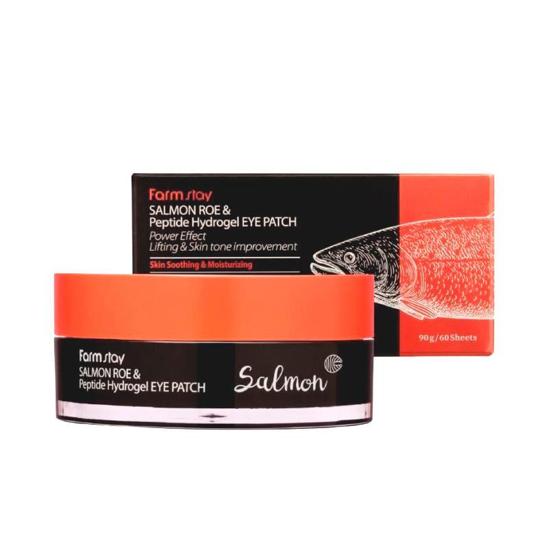 Гидрогелевые патчи с экстрактом икры лосося и пептидами Farmstay Salmon Roe & Peptide Hydrogel Eye Patch, 60шт