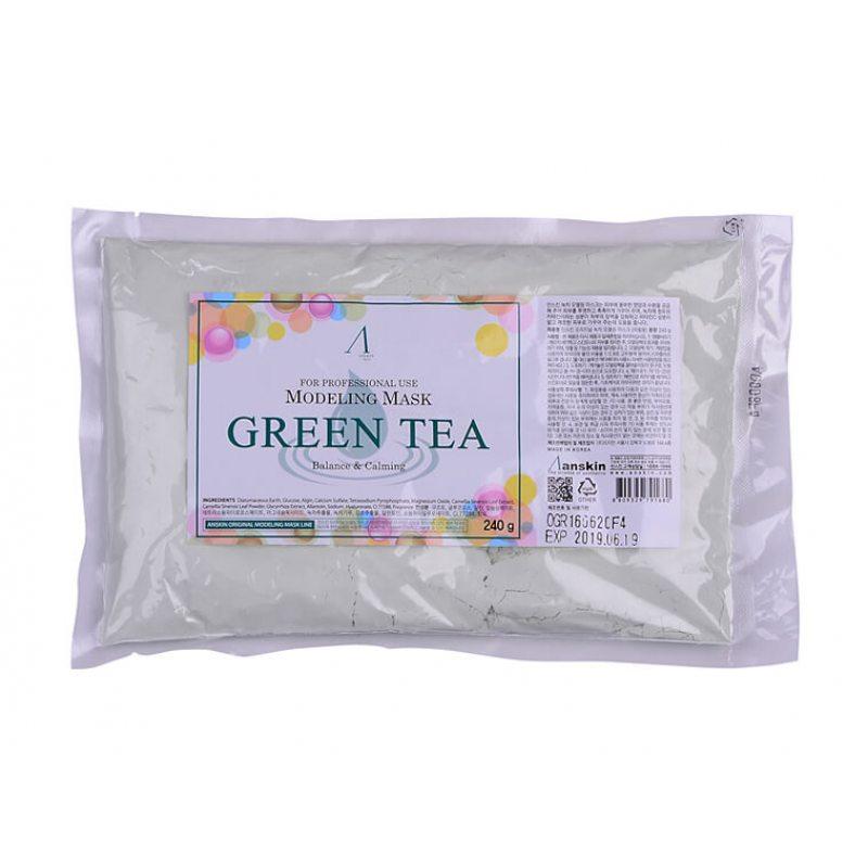 Маска альгинатная с экстрактом зеленого чая успокаивающая Anskin Green Tea Modeling Mask, 240г