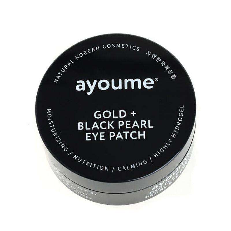 Патчи для глаз с золотом и черным жемчугом Ayoume Gold and Black Pearl Eye Patch, 60шт
