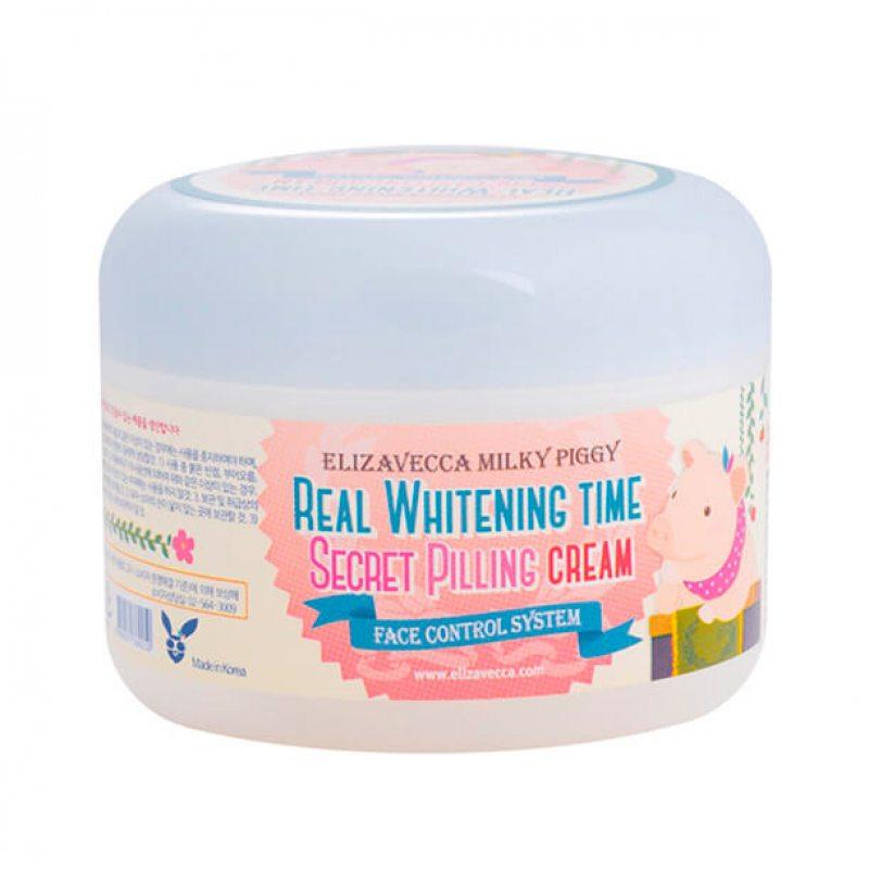 Крем для лица осветляющий с эффектом пилинга Elizavecca Milky Piggy Real Whitening Time Secret Pilling Cream, 100г