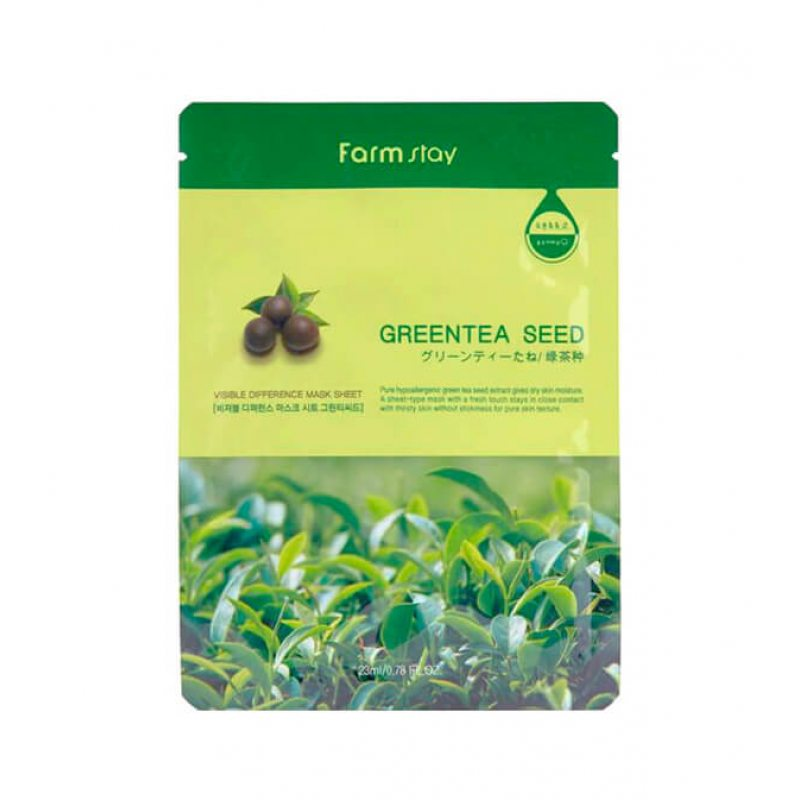 Маска тканевая для лица успокаивающая с экстрактом семян зеленого чая Farmstay Visible Difference Mask Sheet Green Tea Seed, 23мл