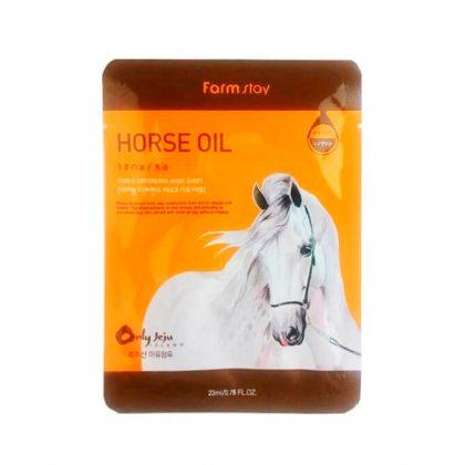 Маска тканевая для лица питательная с лошадиным жиром Farmstay Visible Difference Horse Oil Mask Sheet, 23мл