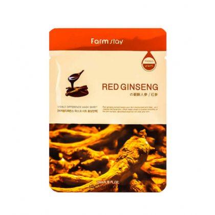 Маска тканевая для лица омолаживающая с экстрактом красного женьшеня Farmstay Visible Difference Mask Sheet Red Ginseng, 23мл