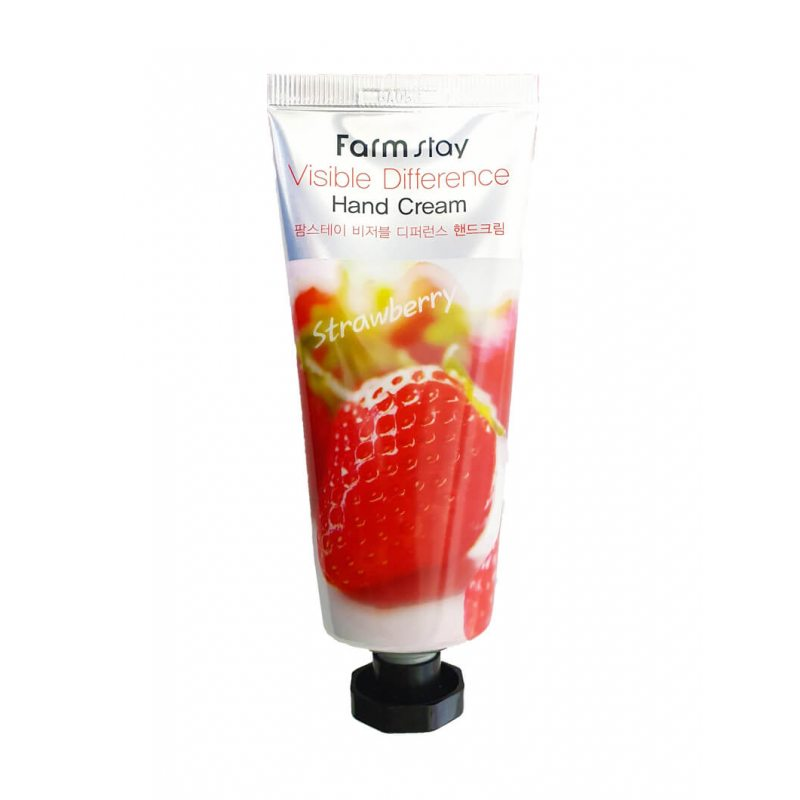 Крем для рук с экстрактом клубники Farmstay Visible Difference Hand Cream Strawberry, 100г