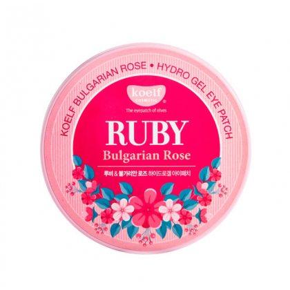 Гидрогелевые патчи для глаз с рубиновым порошком и экстрактом болгарской розы Koelf Hydro Gel Ruby Bulgarian Rose Eye Patch, 60шт