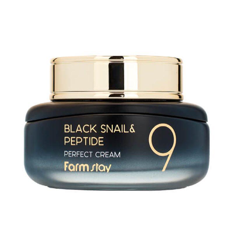 Омолаживающий крем для лица с комплексом из 9 пептидов Farmstay Black Snail & Peptide9 Perfect Cream, 55мл