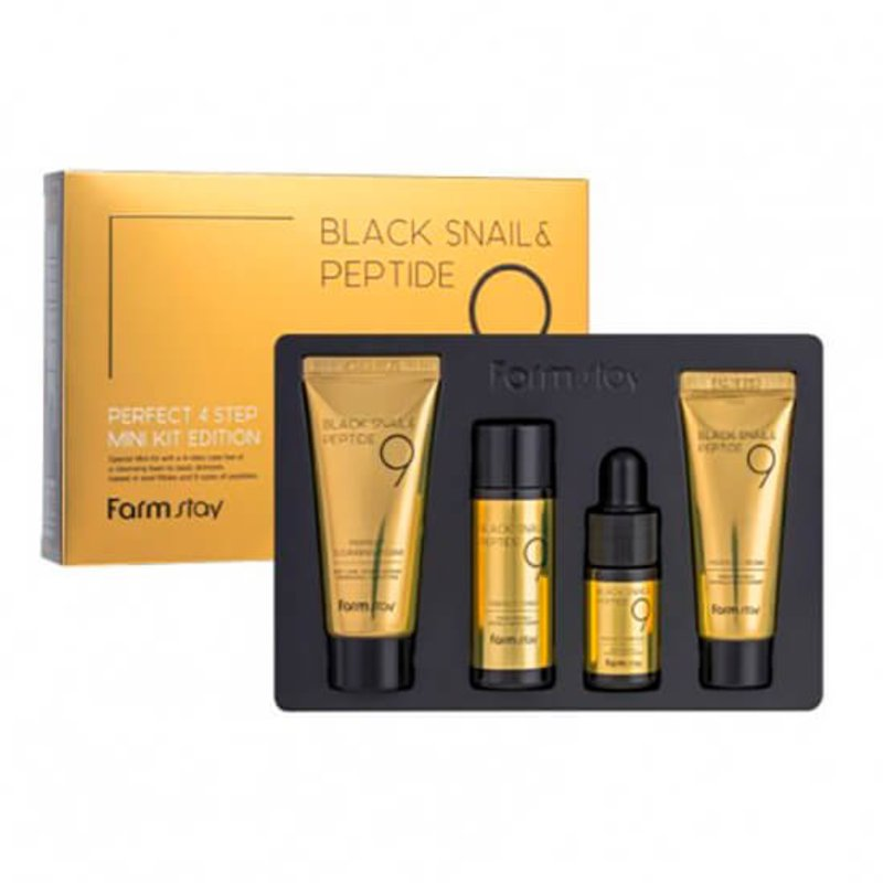 Набор миниатюр 9 пептидов 4 средства FarmStay Black Snail & Peptide9 perfect 4 step mini kit edition