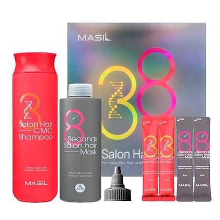Набор для восстановления волос MASIL Salon Hair Set с кератином и коллагеном: Шампунь 300мл + Маска 200мл + 4 саше 8мл