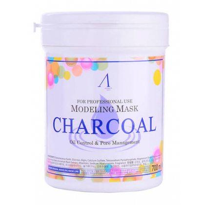 Маска альгинатная сужающая поры Anskin Charcoal Modeling Mask, 700мл