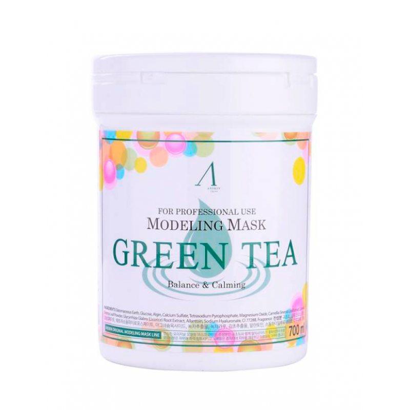 Маска альгинатная с экстрактом зеленого чая успокаивающая Anskin Green Tea Modeling Mask, 700мл