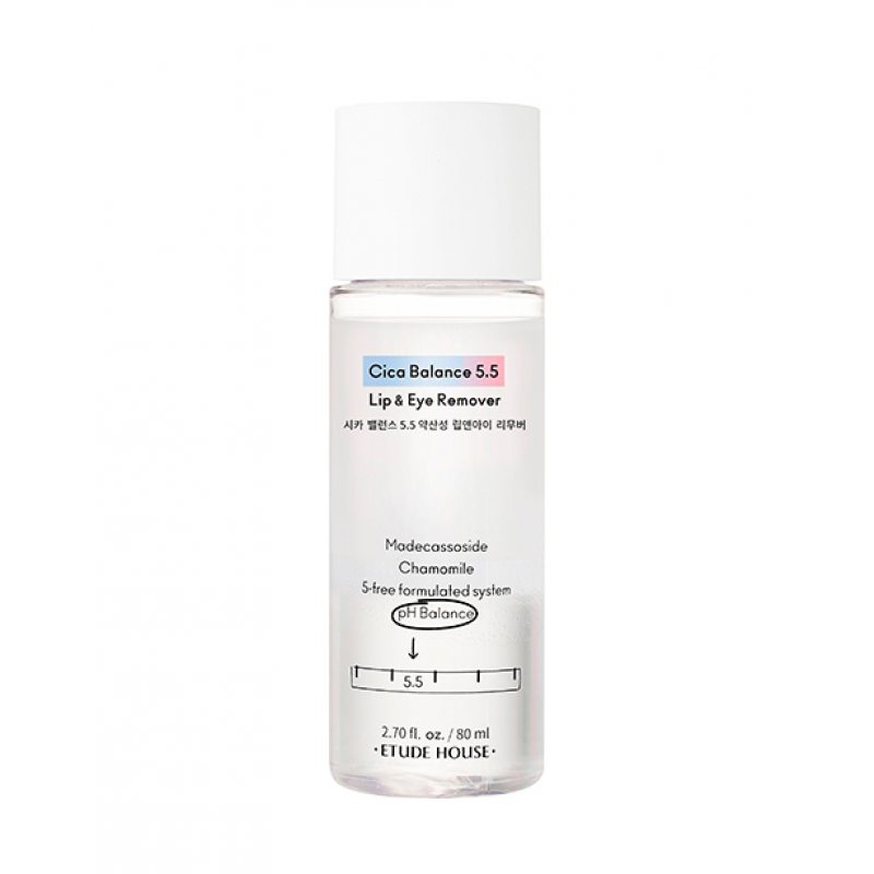 Двухфазная жидкость для демакияжа губ и глаз с рН 5,5 Etude House Cica Balance 5,5 Lip and Eye Remover, 80мл