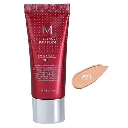 BB-крем для лица #21 Missha M Perfect Cover BB Cream #21 Light Beige SPF42 PA+++, 20мл