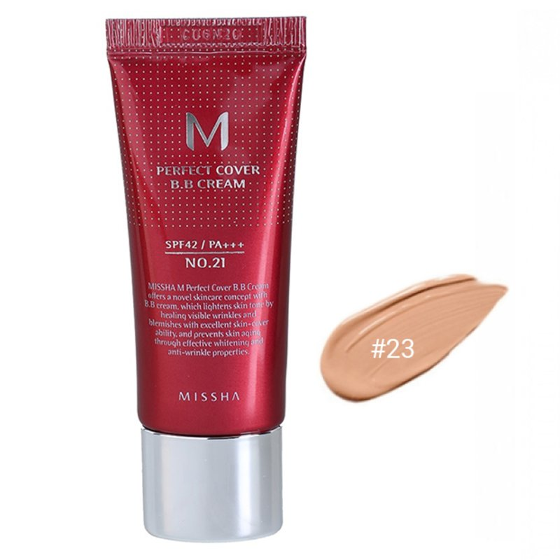 BB-крем для лица #23 Missha M Perfect Cover BB Cream #23 Natural Beige SPF42 PA+++, 20мл