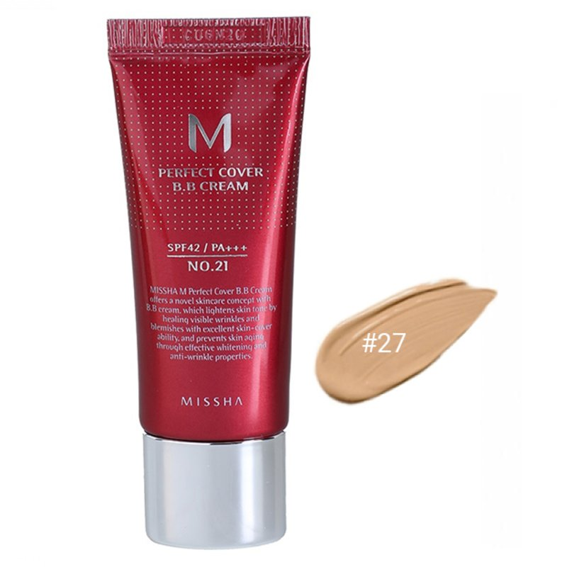 BB-крем для лица #27 Missha M Perfect Cover BB Cream #27 Honey Beige SPF42 PA+++, 20мл