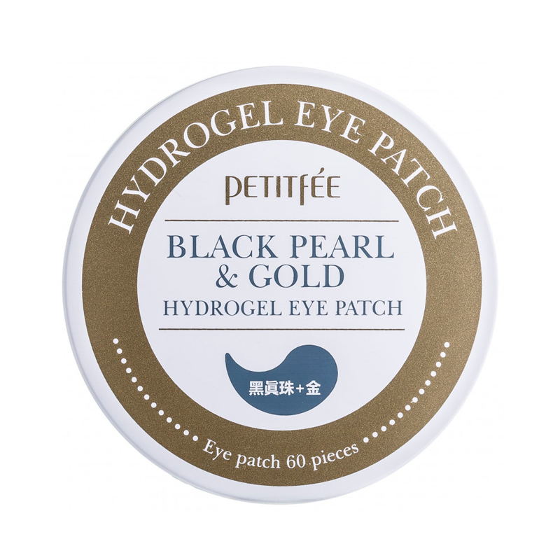 Гидрогелевые патчи для кожи вокруг глаз с золотом и жемчужной пудрой Petitfee Black Pearl Gold Hydrogel Eye Patch, 60шт