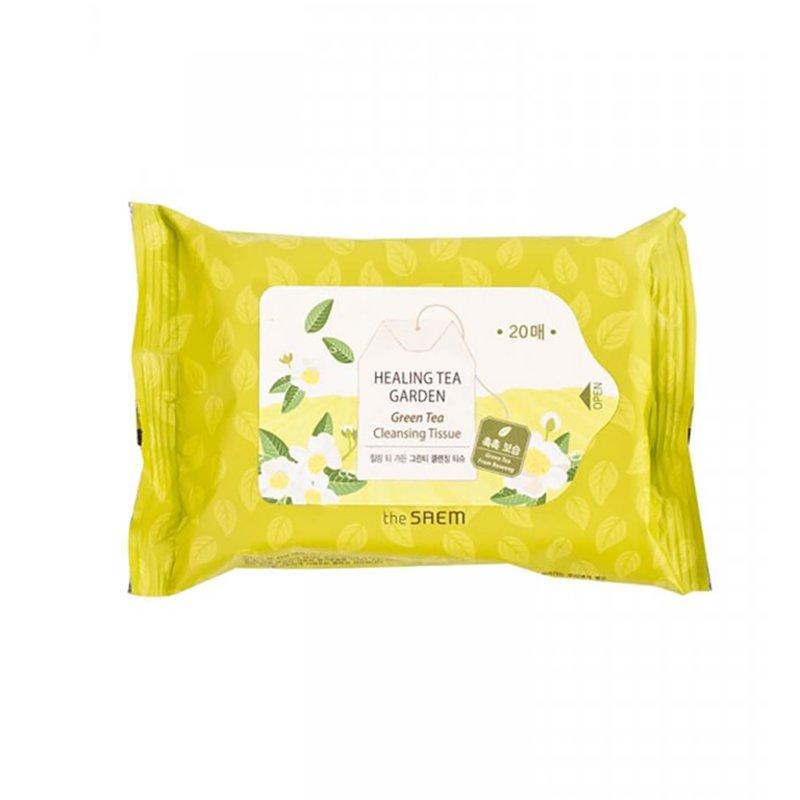 Очищающие салфетки с экстрактом зеленого чая The Saem Healing Tea Garden Green Tea Cleansing Tissue, 20шт