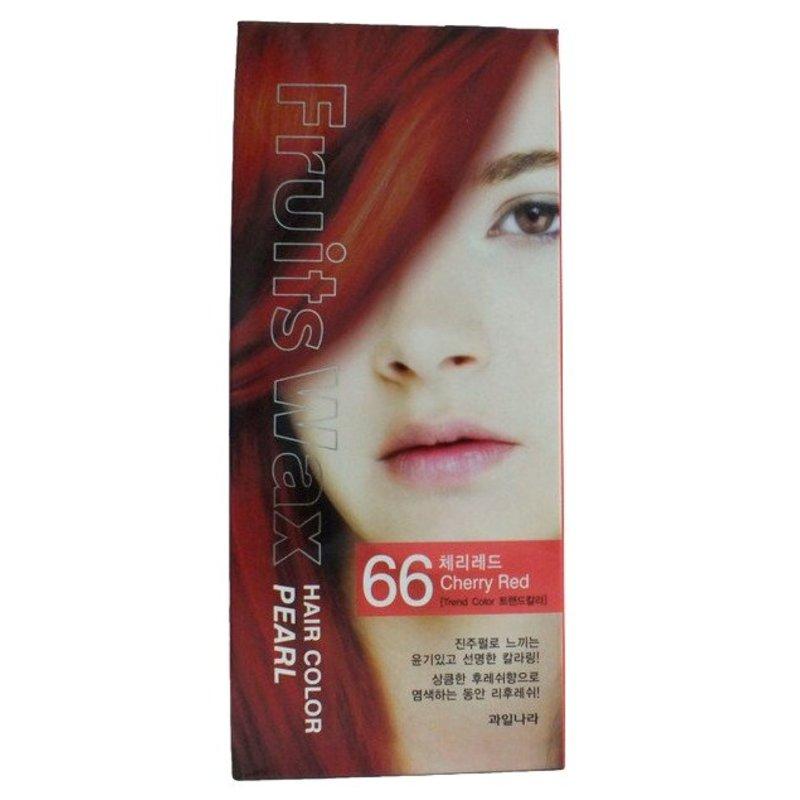 Краска для волос на фруктовой основе Welcos Fruits Wax Pearl Hair Color (66 Вишневый), 120мл