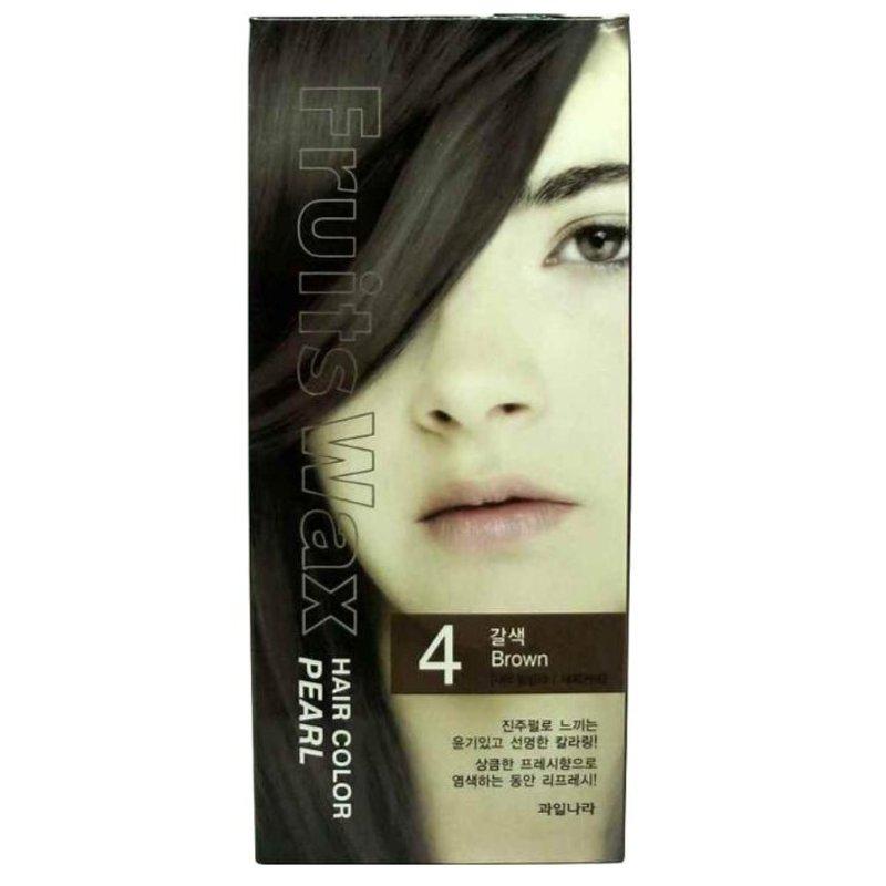 Краска для волос на фруктовой основе Welcos Fruits Wax Pearl Hair Color (04 Коричневый), 120мл
