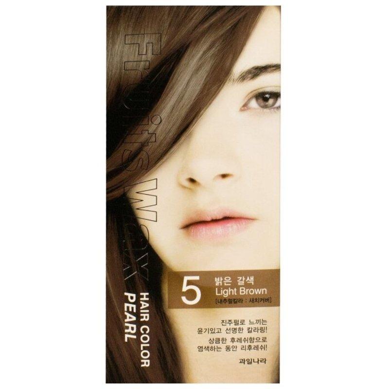 Краска для волос на фруктовой основе Welcos Fruits Wax Pearl Hair Color (05 Светло-коричневый), 120мл