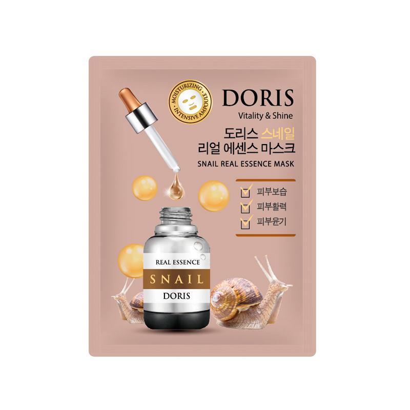 Тканевая маска для лица с муцином улитки Doris Snail Real Essence Mask Doris, 25мл