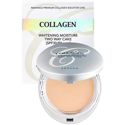 Осветляющая пудра #21 Enough Collagen 3 in 1 Whitening Moisture Two Way Cake #21, 13г + Сменный модуль 13г