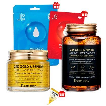Эффективный омолаживающий комплекс FarmStay с золотом и пептидами + 3 Подарка