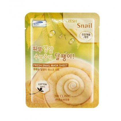Маска тканевая для лица с муцином улитки 3W CLINIC Fresh Snail Mask, 23г