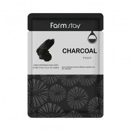 Маска тканевая для лица с древесным углем Farmstay Visible Difference Mask Sheet Charcoal, 23мл