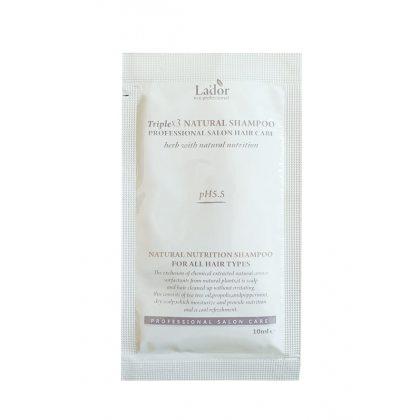 Шампунь бессульфатный органический Lador Triple x3 Natural Shampoo, 10мл