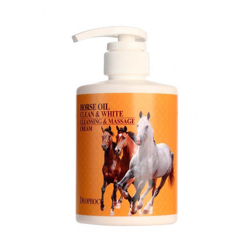 Очищающий массажный крем для тела и лица с лошадиным жиром Deoproce Clean And White Cleansing And Massage Horse Oil Cream, 430мл
