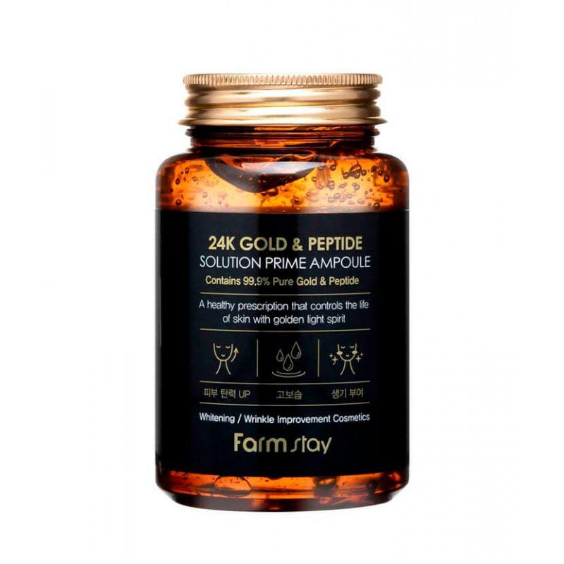 Многофункциональная ампульная сыворотка с золотом и пептидами Farmstay 24K Gold & Peptide Solution Prime Ampoule, 250мл