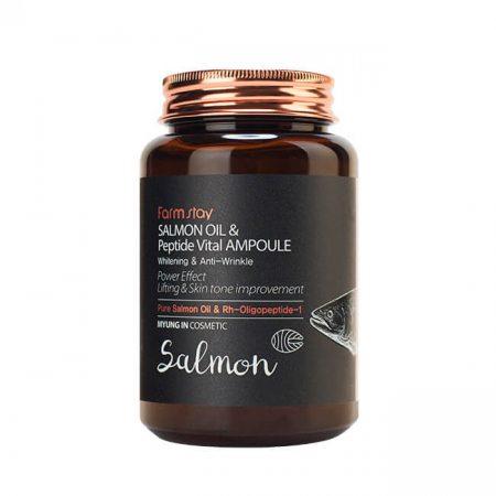 Многофункциональная ампульная сыворотка с маслом лосося и пептидами FarmStay Salmon Oil & Peptide Vital Ampoule, 250мл