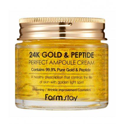 Ампульный крем с золотом и пептидами FarmStay 24K Gold and Peptide Perfect Ampoule Cream, 80мл